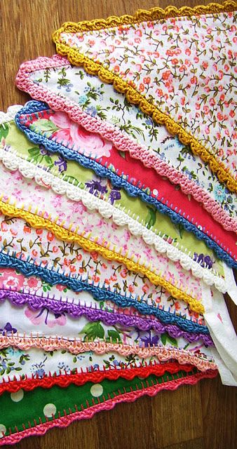 gasp! vintage fabric bunting with crochet edges. i die~~ (#sillyoldsuitcase, #etsy)