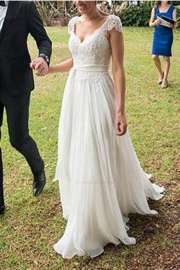 Open Back Wedding Dress Wedding Dress Lace Ivory Wedding Dress Wedding Dress Lace Op Ivory Lace Wedding Dress Wedding Dresses Chiffon Wedding Dress Beach
