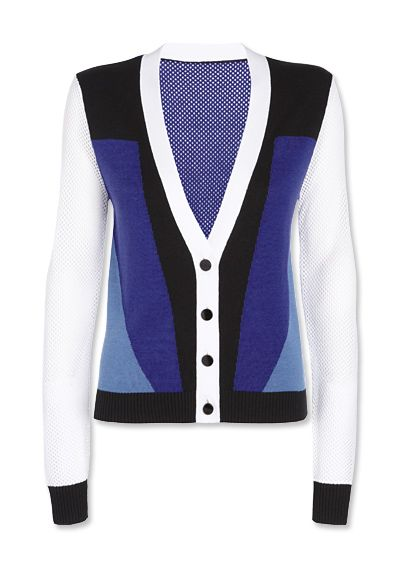 Preview the Peter Pilotto x Target Collection - Cardigan in Blue/White/Black Colorblock from #InStyle