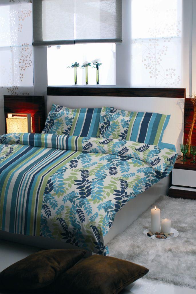 Pościel satynowa Valentini Bianco NICEA GREEN, 220x200 + 2x70x80 cm, 100% bawełna.