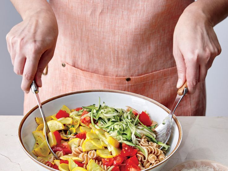 Basil, Squash, and Tomato Pasta Toss   Grated zucchini will cook as the pasta is tossed. If you don't have a grater, cut the zucchini like the yellow squash, and sauté both.
