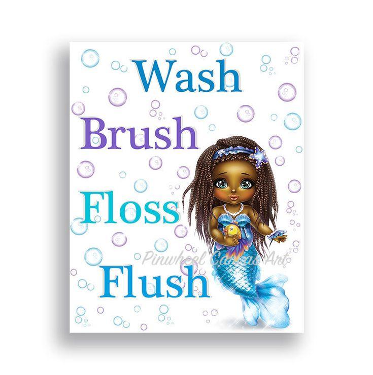 #etsy shop: Mermaid Bathroom Decor African American Girl Mermaid Theme Brown Skin Girl Bathroom Sign Wash Brush Floss Flush Baby Mermaid Print or Canvas http://etsy.me/2HNPwyG #art #print #giclee #blue #babyshower #white #mermaidwallart #mermaidwalldecor #girlsbathroomdecor #Babygirlnursery #Babynursery #Babygirlwalldecor #Walldecor #Babygirlwallart  #Babygirlroomdecor #Babyboyroomdecor #Nurserydecor #Kidswalldecor #Childrenroomdecor #Girlwalldecor