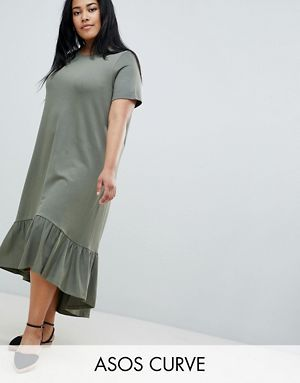e4981dddbe4 ASOS DESIGN Curve midi t-shirt dress with drop hem