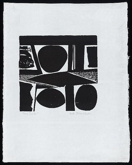 Incorporation, Experimentation, and Outreach - Creative Space: Fifty Years of Robert Blackburn's Printmaking Workshop | Exhibitions - Librar... -- Robert Blackburn, Three Ovals, 1960s-1980s. Woodcut.