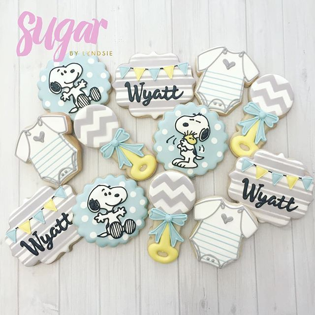 Snoopy baby shower cookies to match the nursery for baby Wyatt!  #customcookies…