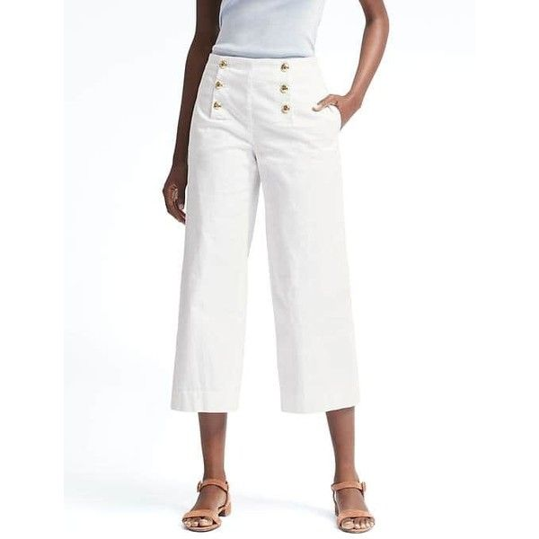 Banana Republic Womens Blake Fit Wide Leg Crop Sailor Pant ($98) ❤ liked on Polyvore featuring pants, capris, white, cropped trousers, white wide leg trousers, white trousers, wide leg sailor pants and wide leg cropped pants