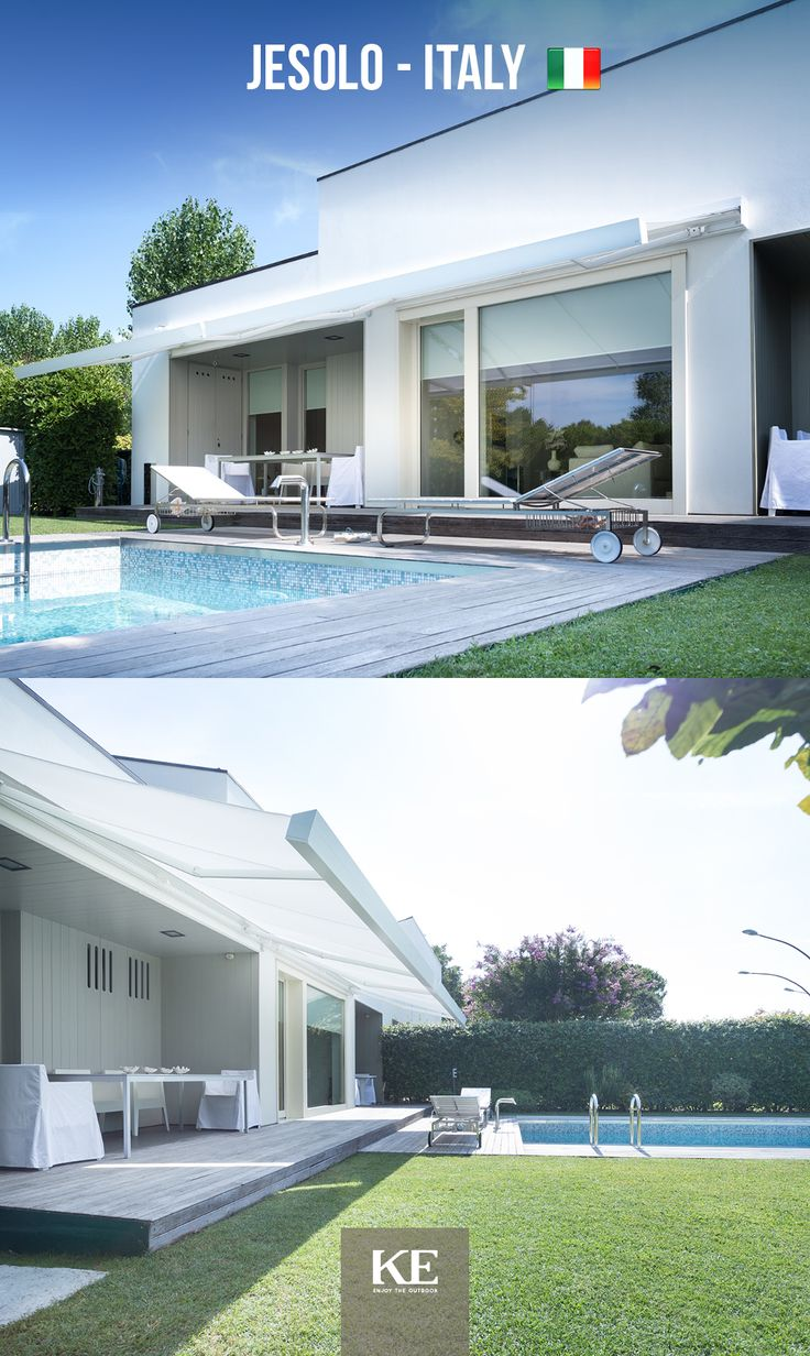 A private swimming pool, a english garden: the sun awning has to be elegant, just like this version of Qubica Plumb, installed in a private home of Jesolo, Italy. #design