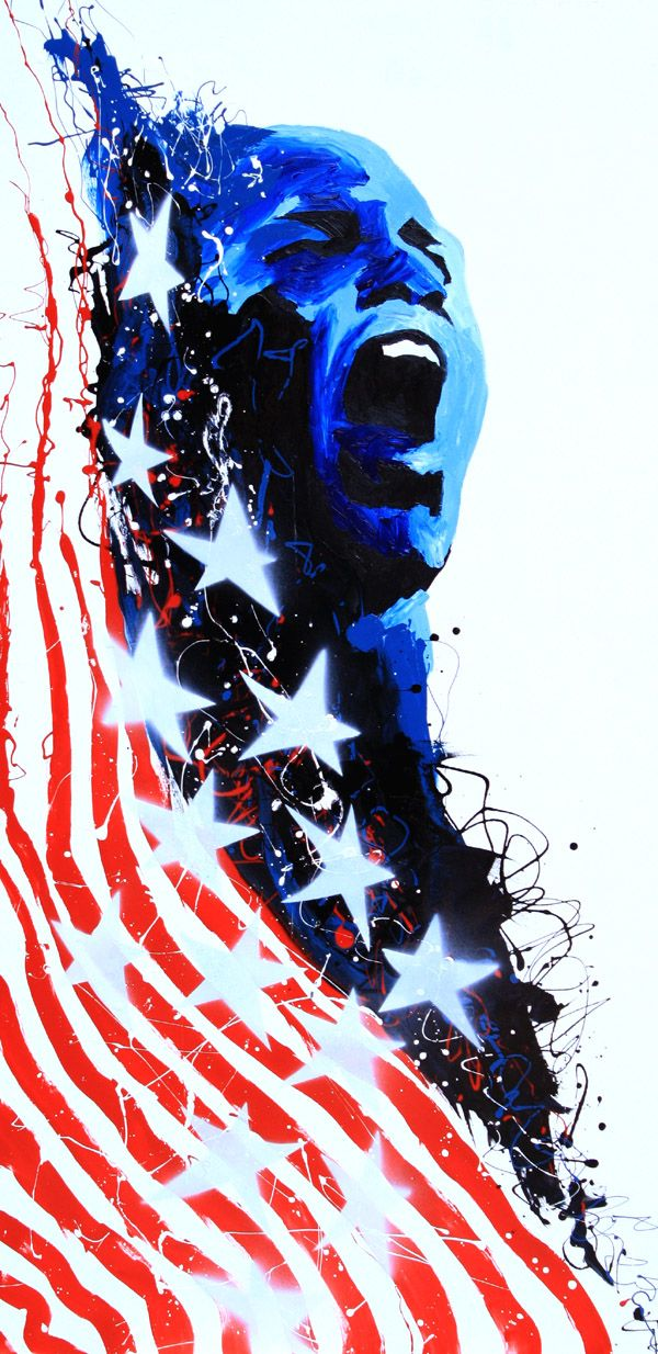 Acrylic, oil and spray on 24″x48″ wood    Former WWE, WCW and TNA Champion and Olympic Gold Medalist Kurt Angle