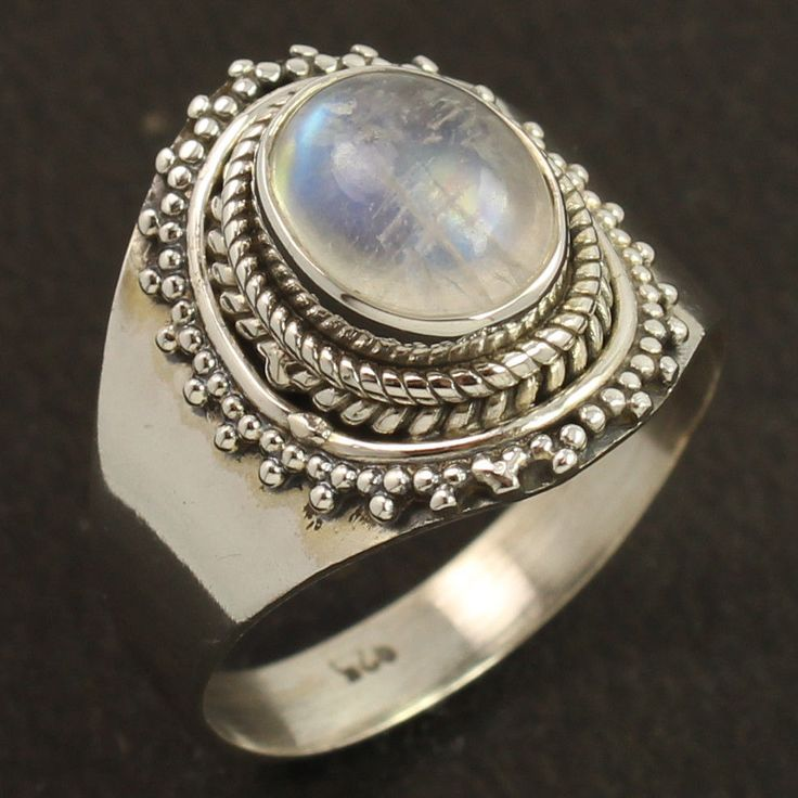 Designer Ring Size UK Q Natural RAINBOW MOONSTONE Gemstone 925 Sterling Silver #Unbranded