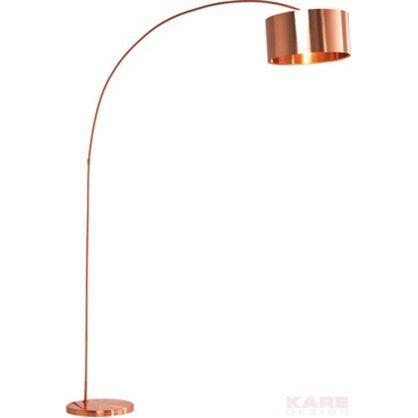 Designerska lampa podłogowa w odcieniu miedzi