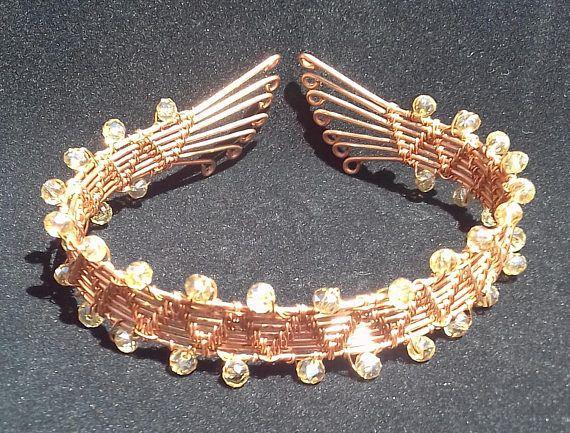 Copper Wire Bangle, Beaded Wire Bangle, Boho Bangle, Wire Wrapped Bangle, Copper Anniversary Gift, 7th Anniversary Gift