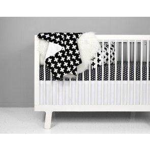 Olli + Lime - Cross Crib Bedding Set - Black