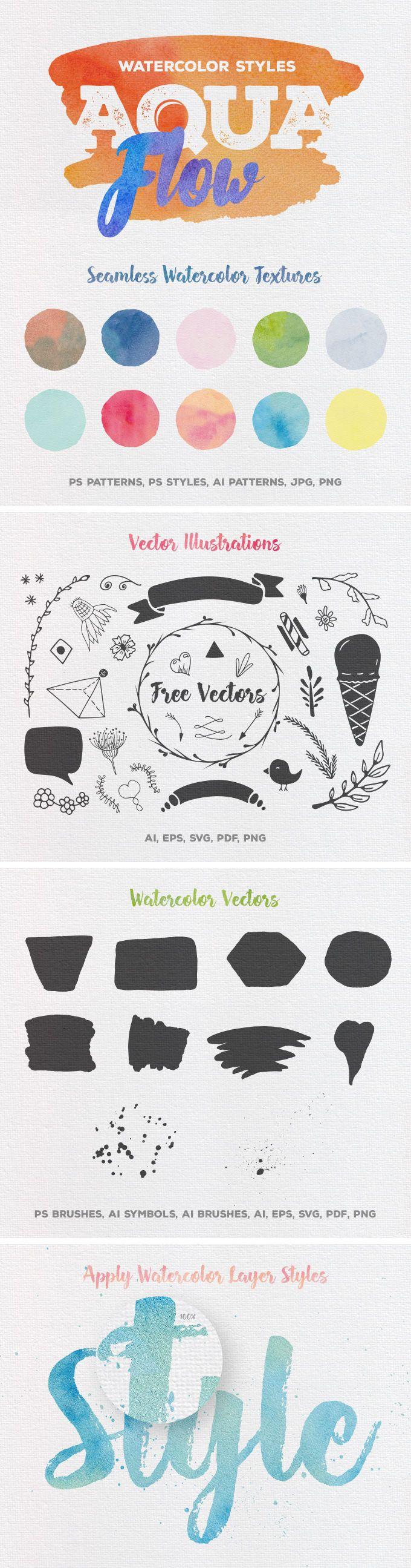 Aquaflow Watercolor Styles - download freebie by PixelBuddha