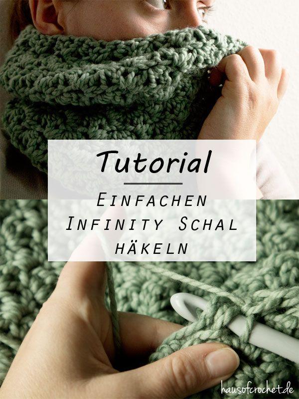 Tutorial: Einfachen Infinity Schal häkeln #DIY                                                                                                                                                                                 Mehr