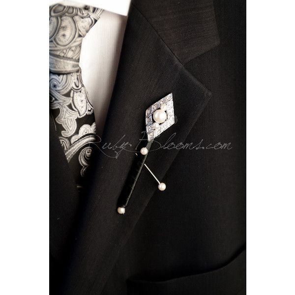 Crystal Pearl Art Deco Wedding Brooch Boutonniere Pearl Groom Broach... ($29) ❤ liked on Polyvore featuring jewelry, brooches, black, weddings, pin brooch, crystal bridal jewelry, black pearl brooch, art deco brooch and art deco jewelry