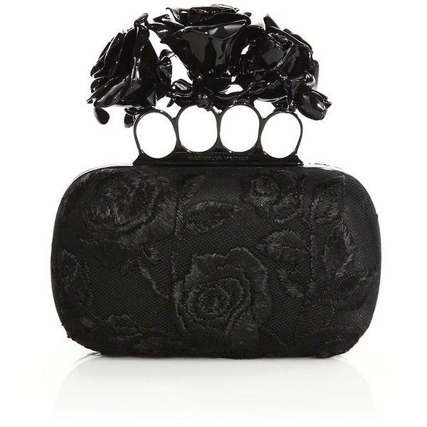 Alexander McQueen Rose-Embroidered Silk Knuckle Box Clutch ($4,595) ❤ liked on Polyvore featuring bags, handbags, clutches, black, apparel & accessories, silk purse, special occasion clutches, black box clutch, brass knuckle clutches and evening box clutch
