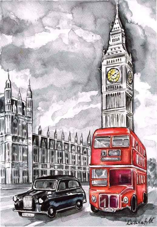 Diana Aleksanian | WATERCOLOR | London, Westminster, Big Ben, Red bus, black taxi cab.