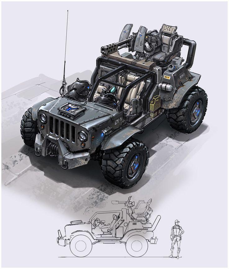 Defiance jeep, Hethe Srodawa on ArtStation at https://www.artstation.com/artwork/defiance-jeep