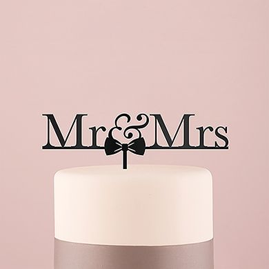 Mr and Mrs Bow Tie Acrylic Cake Topper - Black