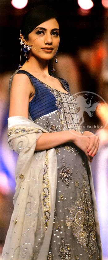 Gray blue Formal Shirt and White Dupatta
