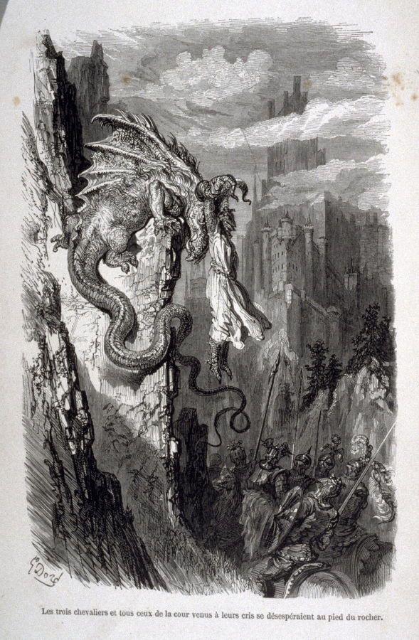Frontispiece in the book, Les Aventures du Chevalier Jaufre et de la belle Brunissende   Gustave Doré  (Paris: Librairie Nouvelle, 1856)