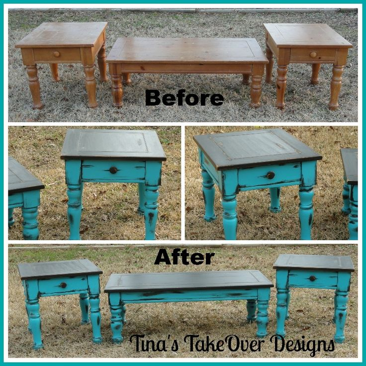 Coffee and End Table Redo - Painted in Bright Turquoise and Dark Chocolate Brown, faux distressed with the brown paint on the turquoise - follow me on Facebook www.facebook.com/TinasTakeOver