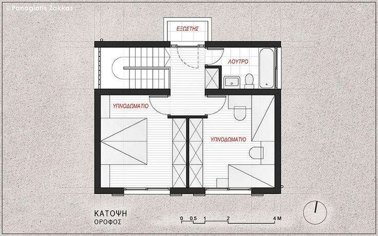 Low-Cost Standardised House 90 sqm, First Floor Plan - www.pzarch.gr