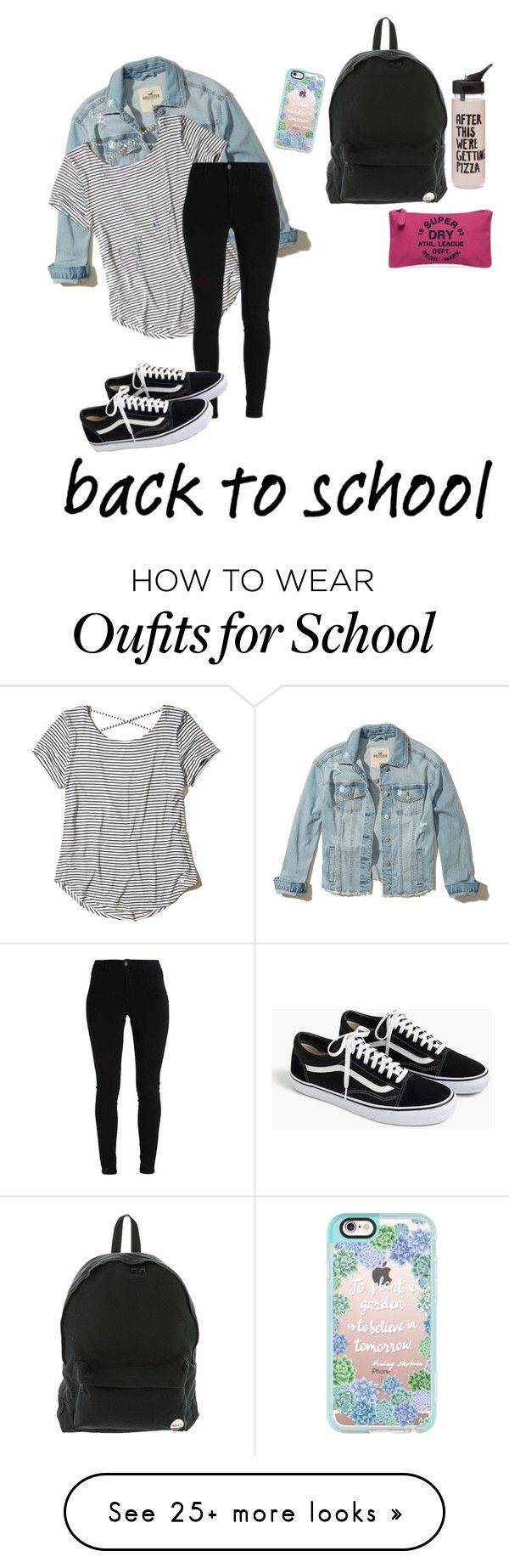 """""""school"""" by henriesophie on Polyvore featuring Hollister Co., J.Crew, Roxy, ban.do, Superdry and Casetify"""