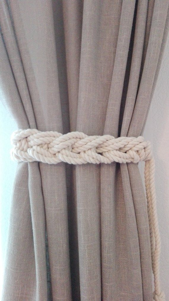 Macrame Curtain Tie Backs 2 Sides Nursery Curtain Tie Back Etsy