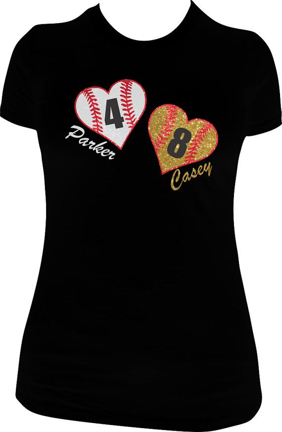 baseball shirt softball shirt super sparkly glitter vinyl design customize with any 3 names and numbers not fitted