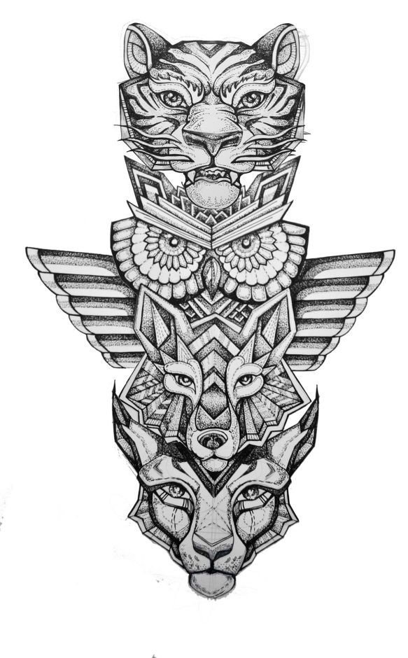 Spirit Animal Totem Pole // Tiger + Owl + Wolf + Lynx // Geometric & Dot Work Shading