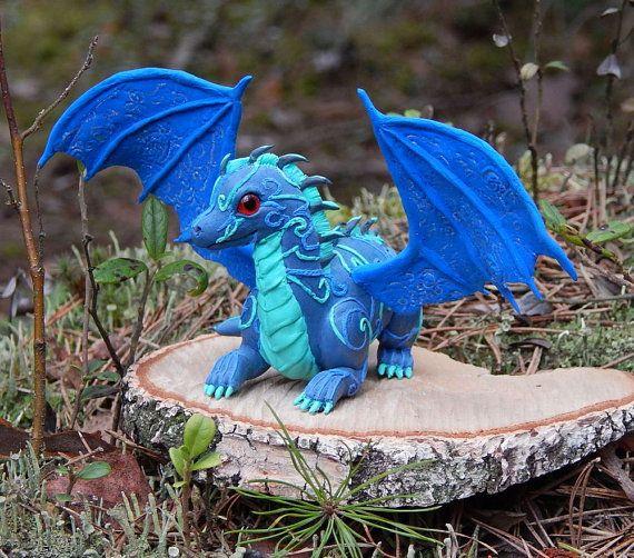 Blue dragon figurine fantasy animal dragon by ViaLatteaArt on Etsy