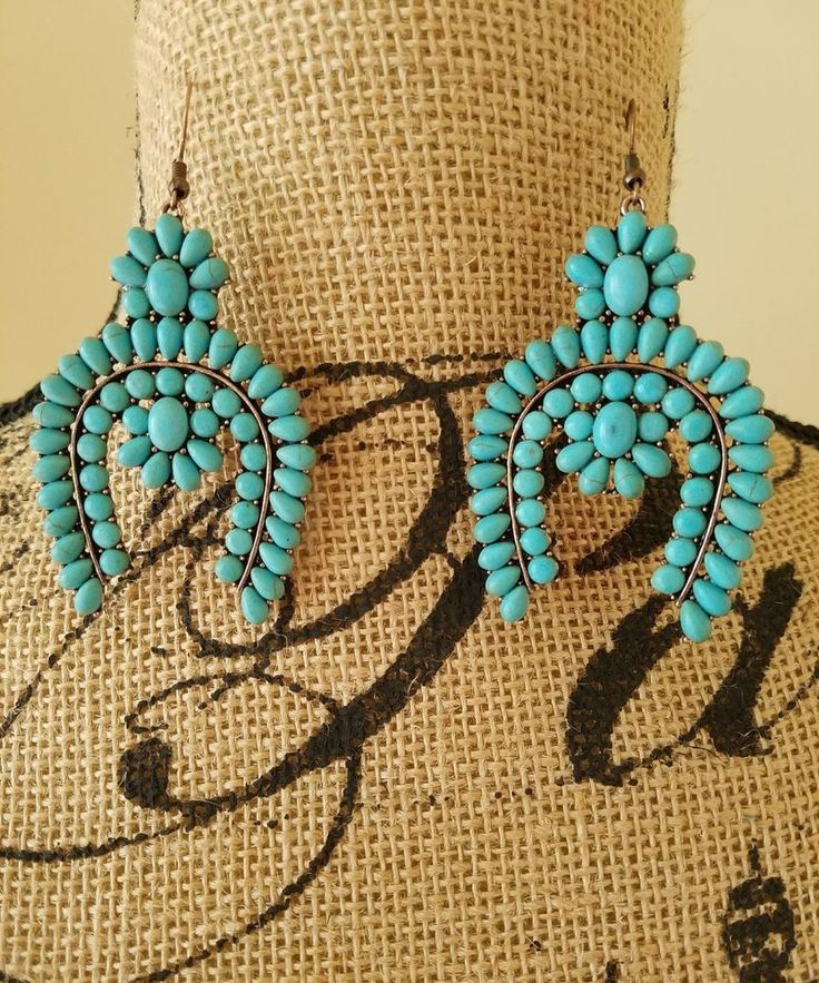 New Squash Blossom Turquoise Brass Color Chunky Dangle Earrings Southwestern  #SP #FishHook