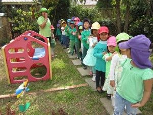 Lidcombe Preschool, NSW. In green, we made a human train to show the spirit of cooperation and teamwork in celebrating Enviroweek!  #enviroweek13