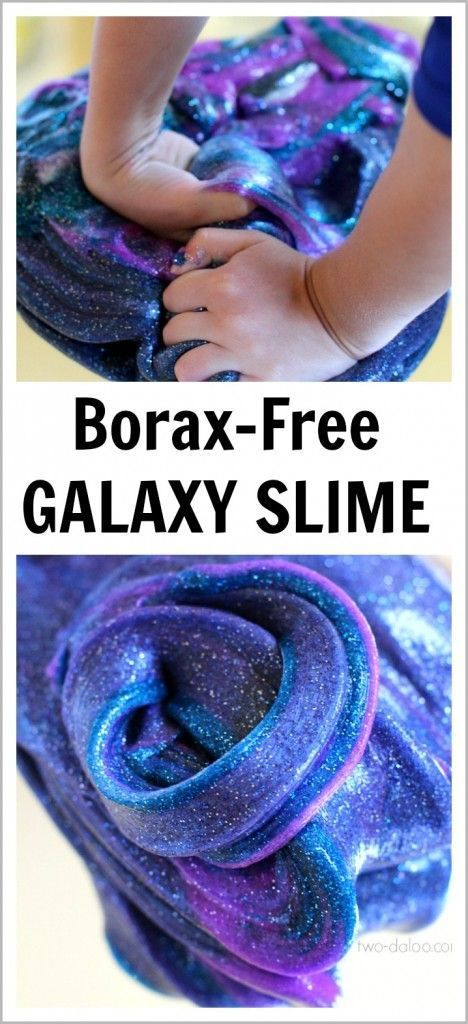 Make this beautiful, sparkly, stretchy slime that looks just like the swirls of a galaxy and keep your kids entertained for hours this summer! Borax-free recipe