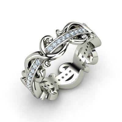 Sterling Silver Ring with Aquamarine - Atlantis Eternity Band | Gemvara