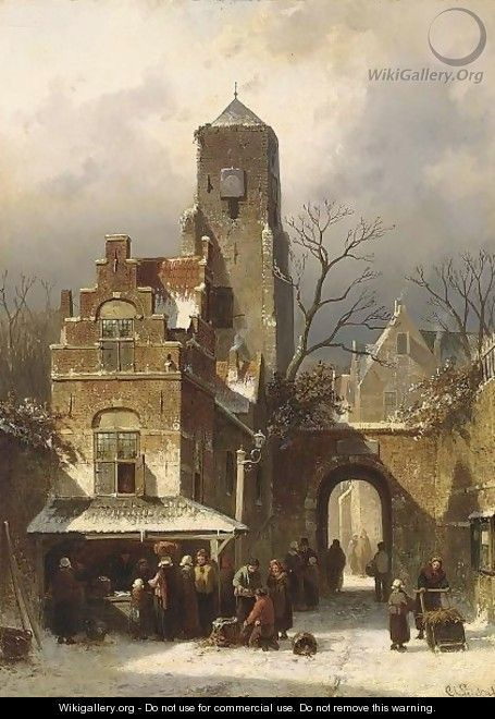 A Market Scene In A Wintry Dutch Town - Charles Henri Leickert