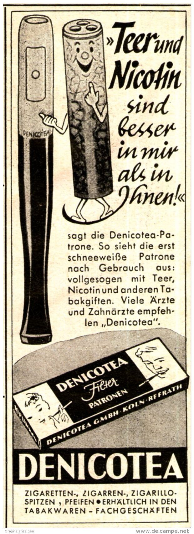 Original-Werbung/ Anzeige 1951 - DENICOTEA - ca. 45 X 130 mm
