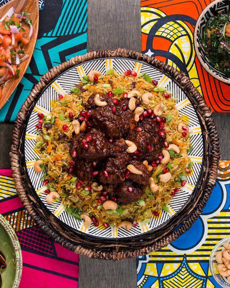 Wakandan Jeweled Vegetable Pilau With Berbere Braised Lamb Recipe by Tasty - substitute beef for the lamb