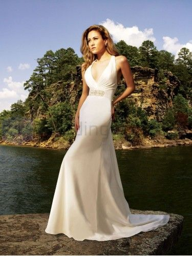 A-line Organdy Delicately Pleated Bodice Dramatic halter Neckline Sweep Train Wedding Dresses