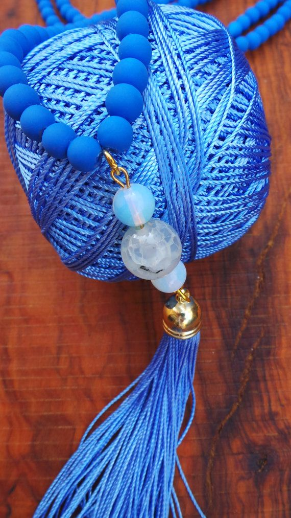Long beaded tassel necklace. Boho tassel by AllAboutEveCreations