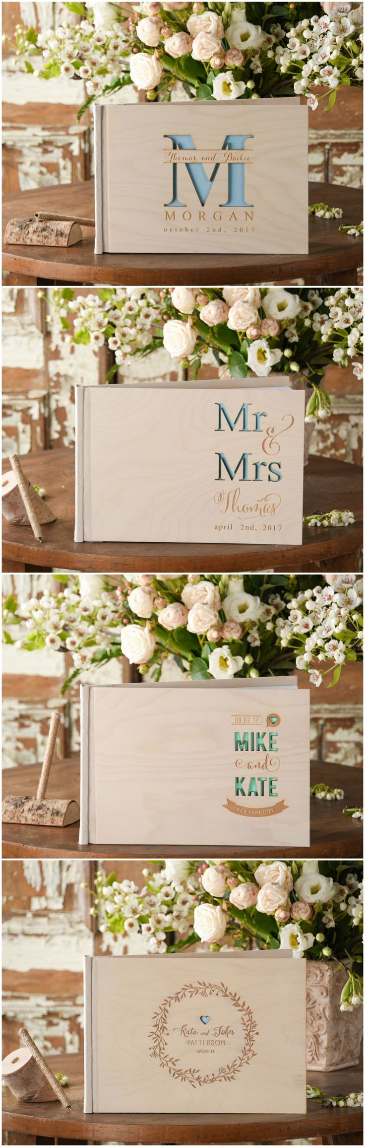 Wooden Wedding Guest Books with custom engraving #wood #rustic #wedding #boho #handmade #realwood #weddingideas #weddinggift #custom