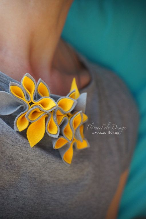 Felt/necklace/modern/romantic/flowers/Jewelry/wedding/spring/yellow by MargoHupert, $47.00