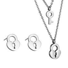 FUNIQUE Zilveren Sleutel Slot Sieraden Sets Rvs Ketting Oorbellen Vrouwen Indian Afrikaanse Sieraden Set Voor Vrouwen(China (Mainland))