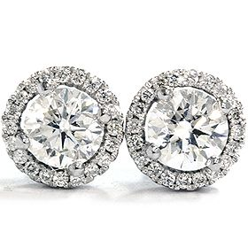 F Vvs Micropave Diamond Studs White Gold Halo Vintage Antique Round