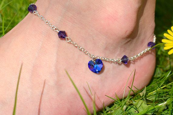 Royal Blue Heart Anklet  Swarovski Crystal Heart Ankle
