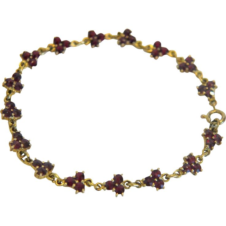 Antique Bohemian Garnet Tennis bracelet, 9k yellow gold,late 19th  from akaham on Ruby Lane