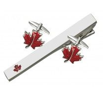 CUFFLINK  TIE BAR SET. These unique Canadian maple leaf cufflinks with tie bar can certainly make you feel patriotic! These high quality rhodium plated cufflinks/ tie bar has red enamel on top covered with clear protective layer on it. Cufflink Size: 17 x 20 mm  Tie Bar Size: 64 x 7 mm http://www.stunningselection.com/cufflink-tie-bar-set-1705