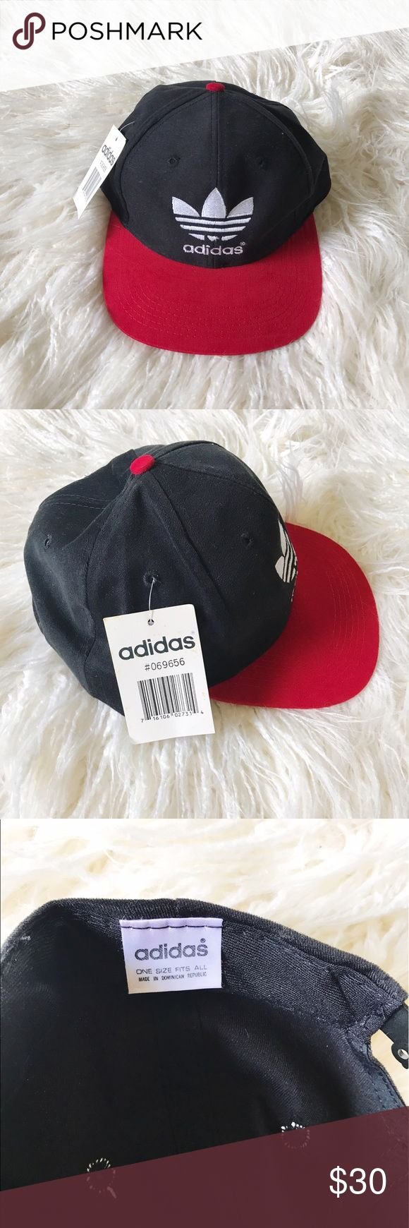 Old School Adidas Snapback Old School Adidas Snapback❤️ Trending now! A fun cap to wear with athletic wear or weekend outfits! Black and red with white Adidas logo. Also has a really cool snap with Adidas written on it don't miss out on the look!✨ Adidas Accessories Hats