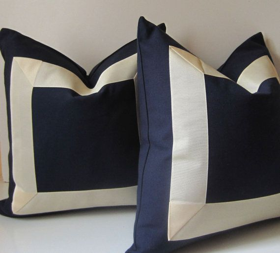 Set of Two - Navy and Cream Pillows - 18 inch - Decorative Pillows - cotton fabric with cream ...